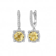 Sterling Silver Lassaire Simulated Diamond and Citrine Birthstone Earrings