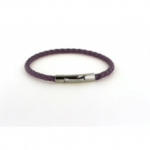 Southern Gates Sterling Silver Purple Leather Braided Bracelet