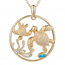 Alamea Sterling Silver and CZ Mom and Baby Turtle Pendant