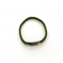Southern Gates Sterling Silver Green Braided Leather Bracelet