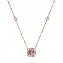 Sterling Silver Lassaire Simulated Diamond and Amethyst 18 Inch Necklace