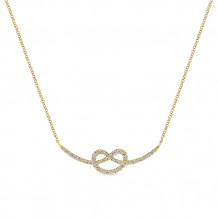 Gabriel & Co. 14k Yellow Gold Knot Design Bar Necklace