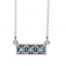 Stuller 14k White Aquamarine Three-Stone Granulated Bar Necklace