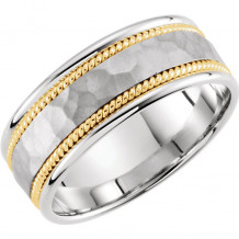Stuller 14k White Gold & Yellow Hammered Hand-Woven Wedding Band
