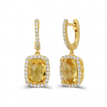 Sterling Silver Lassaire Simulated Diamond and Citrine Earrings