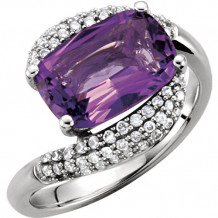 14k White Gold Stuller Amethyst and Diamond Fashion Ring