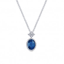 Gabriel & Co. 14k White Gold Oval Shaped Blue Sapphire Necklace