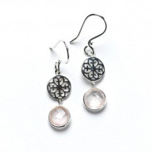 Southern Gates Sterling Silver Rose Quartz Dangle Earrings