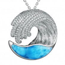 Alamea Sterling Silver Larimar and CZ Wave Pendant
