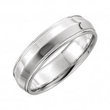 Stuller 14k White Gold Knife Edge Comfort Fit Milgrain Wedding Band