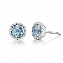 Sterling Silver Lassaire Simulated Diamond and Aquamarine Birthstone Earrings