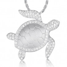 Alamea Sterling Silver and CZ Honu Pendant