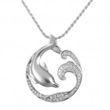 Alamea Sterling Silver and CZ Dolphin Pendant