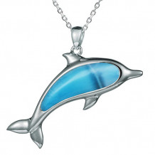 Alamea Sterling Silver and Larimar Large Dolphin Pendant