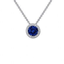 Sterling Silver Lassaire Simulated Diamond and Sapphire 18 Inch Necklace