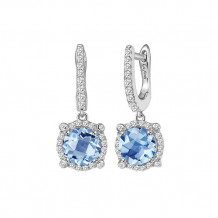 Sterling Silver Lassaire Simulated Diamond and Aquarine Birthstone Earrings