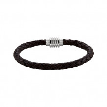 Stuller Stainless Steel & Dark Brown Braided Leather Bracelet with Magnetic Clasp
