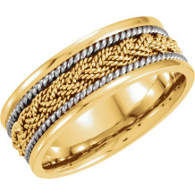 Stuller 14k Yellow Gold & White Comfort-Fit Hand-Woven Wedding Band