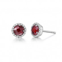 Sterling Silver Lassaire Simulated Diamond and Garnet Birthstone Earrings