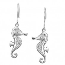 Alamea Sterling Silver and CZ Seahorse Earrings