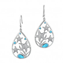 Alamea Sterling Silver Larimar and CZ Starfish Earrings