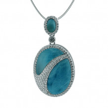 Alamea Sterling Silver Larimar and CZ Pendant