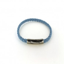 Southern Gates Sterling Silver Blue Braided Leather Bracelet