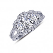 Lafonn Sterling Silver Halo Synthetic Diamond 3 Stone Ring