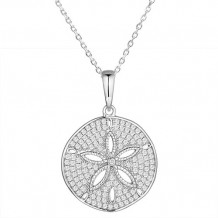 Alamea Sterling Silver and CZ Sand Dollar Pendant