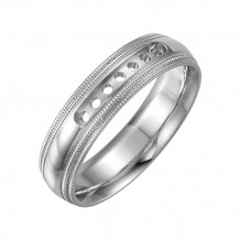 Stuller 14k White Gold Half Round Comfort Fit Double Milgrain Wedding Band
