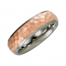Stuller Titanium & Rose Immerse Plated 7mm Hammered Finish Beveled Edge Wedding Band Size 11