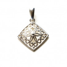 Southern Gates Sterling Silver Filigree Square Pendant