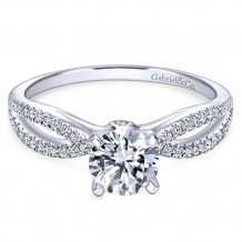 Gabriel & Co. 14k White Gold Split Shank Diamond Engagement Ring