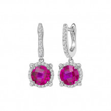 Sterling Silver Lassaire Simulated Diamond and Ruby Birthstone Earrings