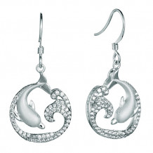Alamea Sterling Silver and CZ Dolphin Earrings