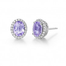 Sterling Silver Lassaire Simulated Diamond and Amethyst Earrings