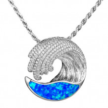 Alamea Sterling Silver Opal and CZ Wave Pendant