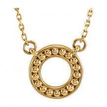 Stuller 14k Yellow Gold Beaded Circle Necklace