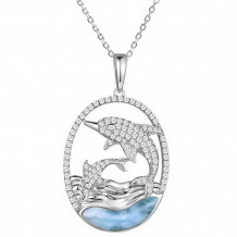 Alamea Sterling Silver Larimar and CZ Dolphin Pendant