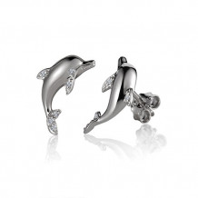 Alamea Sterling Silver and CZ Dolphin Post Earrings