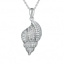 Alamea Sterling Silver and CZ  Shell Pendant