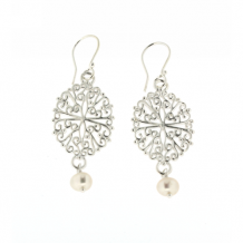 Southern Gates Sterling Silver Sterling Filigree Pearl Earrings