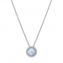 Sterling Silver Lassaire Simulated Diamond and Opal 18 Inch Necklace