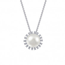 Sterling Silver Lassaire Simulated Diamond and Pearl 18 Inch Necklace
