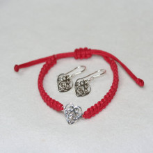 Southern Gates Sterling Silver Filigree Macrame Heart Earrings and Bracelet Jewelry Set