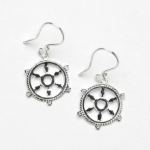 Southern Gates Harbor Series Sterling Silver Ship Wheel Earrings