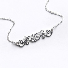 Southern Gates Sterling Silver Scroll Bar Necklace